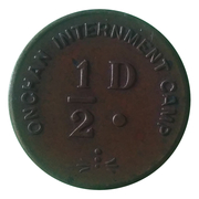 ½ Penny - Onchan Internment Camp (POW Token Coinage; Isle of Man) – obverse