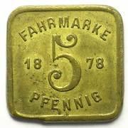 5 Pfennig - Strasbourg Tramway Token – reverse