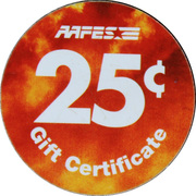 25 Cents - AAFES Gift Certificate – reverse