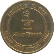 Commemorative Medallion - The Sunday Telegraph (Sydney 2000 Olympic Games - 1 Year to go) – reverse