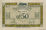 50 centimes - Régie des Chemin de Fer en Territoires Occupés – obverse