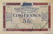 5 Francs - Régie des Chemin de Fer en Territoires Occupés – obverse