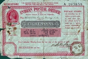 8 Annas (Postal Order) -  obverse