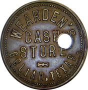 25 Cents - Wearden's Cash Store (Goliad, Texas) – obverse