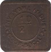½ Penny - Ynysybwl Indus. Co-Op. Soc. Ltd. (Ynysybwl, Mid Glamorgan, Wales) – obverse