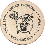 Wooden Nickel - Choate Printing, McMinn County  Bicentennial – reverse