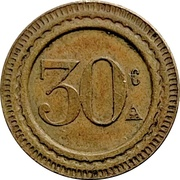 30 Centimes - A. Guiraud (Winged Lion) – reverse