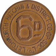 6 Pence - Letchworth, Hitchin & District – obverse