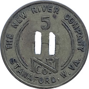 5 Cents - The New River Company (Stanaford, West Virginia) – obverse
