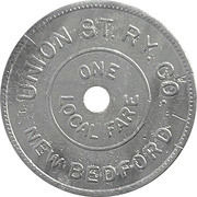 1 Local Fare - Union St. Ry. Co. (New Bedford, Massachusetts) – reverse