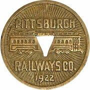 1 Fare - Pittsburgh Railway Co. (Pittsburgh, PA) – obverse