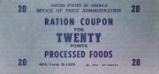 20 Points Processed Food · Rationing Stamps (Office of Price Administration, USA) – obverse