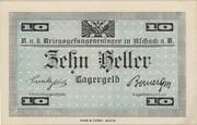 10 Heller (Aschach POW camp) – reverse