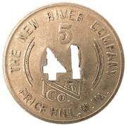 5 Cents - The New River Company (Price Hill, West Virginia) – reverse