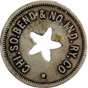 1 City Fare - Chicago South Bend & North Indiana Railway Company (South Bend, Indiana) – obverse