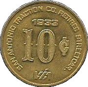 10 Cents - San Antonio Traction Co. Retires Streetcar (San Antonio, Texas) – reverse