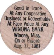 Wooden Nickel - Winona Bank – reverse