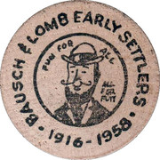 Wooden Nickel - Bausch and Lomb Early Settlers – obverse