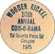 Wooden Nickel - Caveman Coin Club (10th Annual Coin-O-Rama, Oregon) – reverse