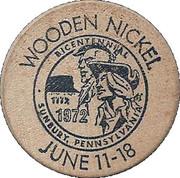 Wooden Nickel - Bicentennial of Sunbury (Pennsylvania) – reverse