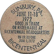 Wooden Nickel - Bicentennial of Sunbury (Pennsylvania) – obverse