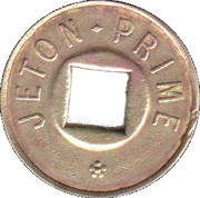 Jeton Prime (with square hole; with 2 flowers) – obverse