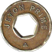 Jeton Prime (with hexagonal hole; inscribed one side; 22.2 mm) – obverse