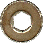 Jeton Prime (with hexagonal hole; inscribed one side; 22.2 mm) – reverse