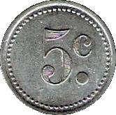 5 Centimes - Société Coopératives des cheminots (Tergnier) – reverse