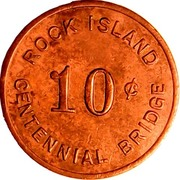 10 Cents - Rock Island Centennial Bridge (Rock Island, Illinois) – obverse