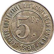 5 Francs - Société coopérative des agentsde la Cie PLM (Chambéry) – obverse