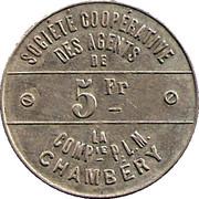 5 Francs - Société coopérative des agentsde la Cie PLM (Chambéry) – reverse