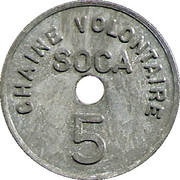 5 Francs - SOCA Chaine volontaire (Strasbourg) – reverse