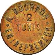 "10 Centimes - Bourdon Entrepeneur - Tunis (Countermarked ""2"") – obverse"