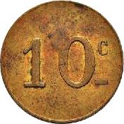 "10 Centimes - Bourdon Entrepeneur - Tunis (Countermarked ""2"") – reverse"