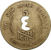 5 Cents - The New River Company (Carlisle, W. Va.) – reverse