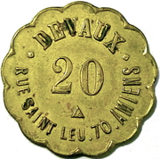 20 CENTIMES DEVAUX RUE St LEU 70 AMIENS – obverse