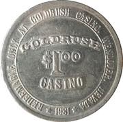 1 Dollar Gaming Token - Goldrush Casino – obverse