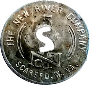 5 Cents - The New River Company (Scarbro, West Virginia) – reverse