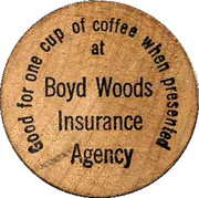 Wooden Nickel - Boyd Woods Insurance Agency – obverse