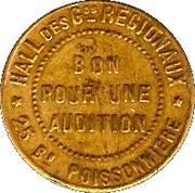 Phonograph Token - Boulevard Audition (Paris) – reverse