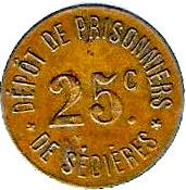 25 Centimes - Dépot de Prisonniers de Sédières (Clergoux) – obverse
