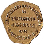 Token - Collection BP - Le Trésor des pirates (№14 - Colombie 4 escudos 1745) – reverse