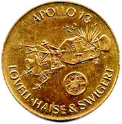Shell Token - Man in Flight (#21 - Lovell, Haise & Swigert, Apollo 13, 1970) – obverse