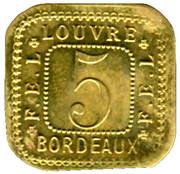 5 Centimes F.E.L - Louvre - Bordeaux [33] – obverse