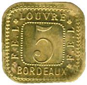 5 Centimes F.E.L - Louvre - Bordeaux [33] – reverse