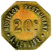 20 Centimes - Bouillon Restaurant A.Lemaire - Paris [75] – obverse
