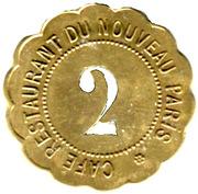 2 francs - Café Restaurant du Nouveau Paris - Paris [75] – reverse