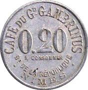 20 Centimes - Café du Grand Gambrinus (Nîmes) – obverse
