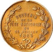 Commémorative fête nationale du 14 juillet 1883 – reverse